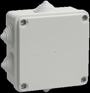 Коробка распаячная КМ41233 для о/п 100х100х50мм IP44 (RAL7035, 6 гермовводов) IEK