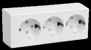 Розетка 3-местная для открытой установки РС23-3-ББ с заземляющим контактом БРИКС белый IEK
