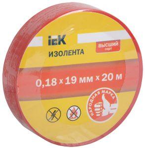 Изолента 0,18х19мм красная 20м IEK