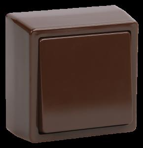 Выключатель 1-клавишный для открытой установки кнопочный ВСк20-1-0-БК БРИКС коричневый IEK