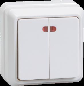 Выключатель 2-клавишный для открытой установки с индикацией ВС20-2-1-ОКм 10А ОКТАВА кремовый IEK