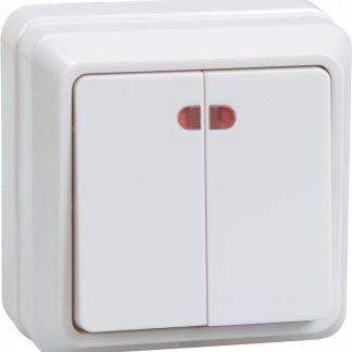 Выключатель 2-клавишный для открытой установки с индикацией ВС20-2-1-ОБ 10А ОКТАВА белый IEK