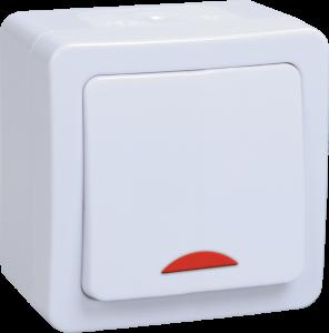 Выключатель 1-клавишный для открытой установки с индикацией ВС20-1-1-ГПБ IP54 ГЕРМЕС PLUS (цвет клавиши: белый) IEK