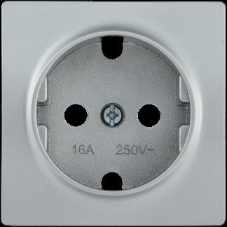 Накладка розетка НР-1-1-БС с заземляющим контактом BOLERO серебряный IEK