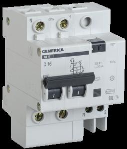 Дифференциальный автоматический выключатель АД12 2Р 16А 30мА GENERICA