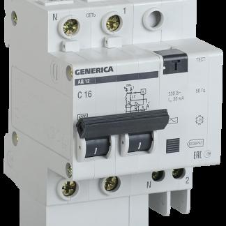 Дифференциальный автоматический выключатель АД12 2Р 40А 30мА GENERICA