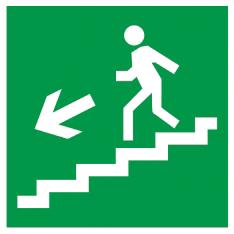 """Самоклеящаяся этикетка 150х150мм """"Направление к эвакуационному выходу (по лестнице налево вниз)"""" IEK"""