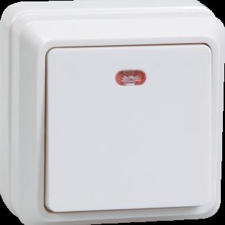 Выключатель 1-клавишный для открытой установки с индикацией ВС20-1-1-ОБ 10А ОКТАВА белый IEK