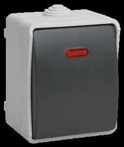 Выключатель 1-клавишный для открытой установки с индикацией ВС20-1-1-ФСр ФОРС IP54 IEK