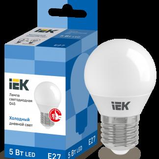 Лампа светодиодная ECO G45 шар 5Вт 230В 6500К E27 IEK