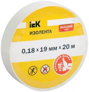 Изолента 0,18х19мм белая 20м IEK