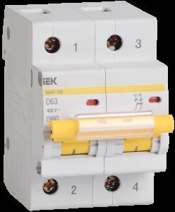 Автоматический выключатель ВА47-100 2Р 63А 10кА х-ка D IEK