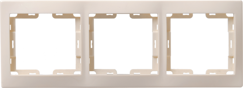 Рамка 3-местная горизонтальная РГ-3-ККм КВАРТА кремовый IEK