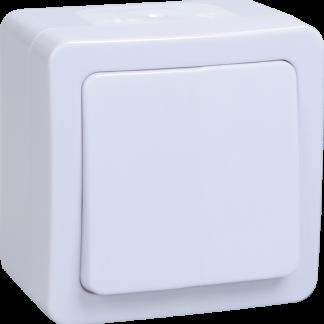 Выключатель 1-клавишный для открытой установки проходной ВСп20-1-0-ГПБ IP54 ГЕРМЕС PLUS (цвет клавиши: белый) IEK