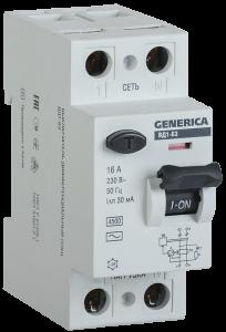 Выключатель дифференциальный (УЗО) ВД1-63 2Р 50А 30мА GENERICA