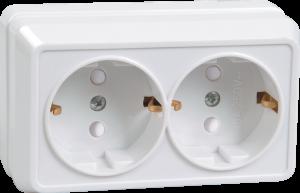 Розетка 2-местная для открытой установки РСш22-3-ОБ с заземляющим контактом с защитной шторкой 16А ОКТАВА белый IEK