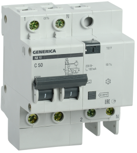 Дифференциальный автоматический выключатель АД12 2Р 50А 100мА GENERICA