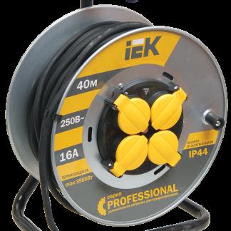 Катушка УК40 на мет. с термозащитой 4 места 2Р+PЕ/40м КГ 3х2,5мм2 IP44 Professional IEK