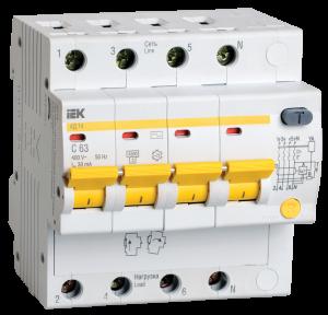 Дифференциальный автоматический выключатель АД14 4Р 10А 30мА IEK