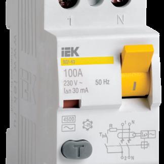 Выключатель дифференциальный (УЗО) ВД1-63 2Р 80А 100мА IEK