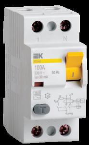 Выключатель дифференциальный (УЗО) ВД1-63 2Р100А 30мА IEK