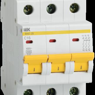 Автоматический выключатель ВА47-29 3Р 16А 4,5кА х-ка D IEK