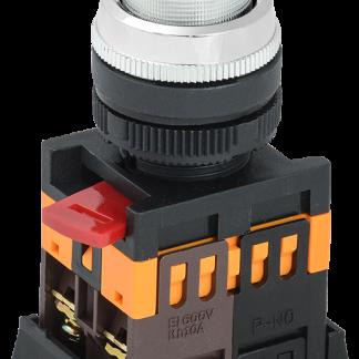 Кнопка ABLFP-22 прозрачный d=22мм неон/240В 1з+1р IEK
