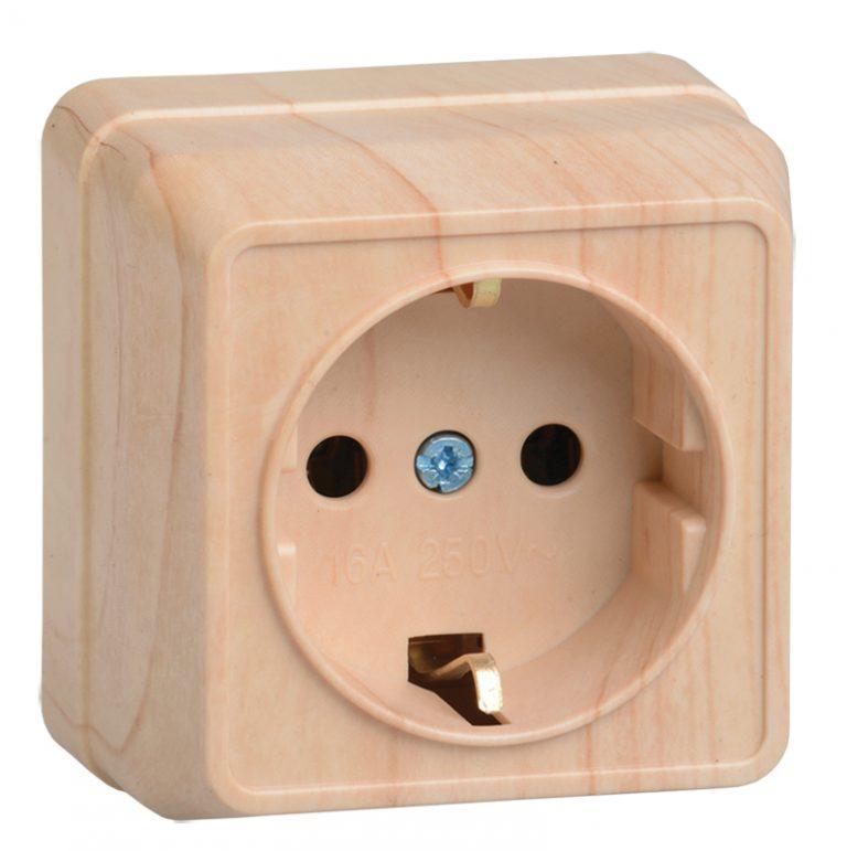 Розетка 1-местная для открытой установки РС20-3-ОС с заземляющим контактом 16А ОКТАВА сосна IEK
