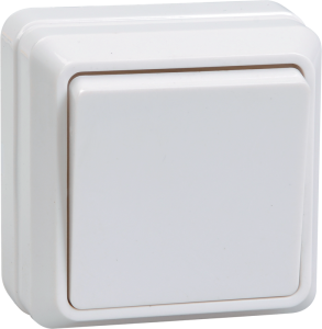 Выключатель 1-клавишный для открытой установки кнопочный ВСк20-1-0-ОКм 10А ОКТАВА кремовый IEK
