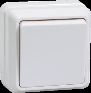 Выключатель 1-клавишный для открытой установки кнопочный ВСк20-1-0-ОБ 10А ОКТАВА белый IEK