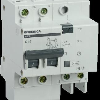 Дифференциальный автоматический выключатель АД12 2Р 40А 300мА GENERICA