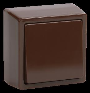 Выключатель 1-клавишный для открытой установки ВС20-1-0-БК БРИКС коричневый IEK