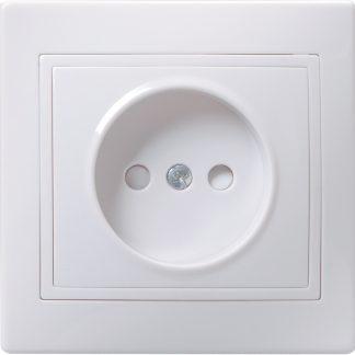 Розетка 1-местная РСш10-2-КБ без заземляющего контакта с защитной шторкой 10А КВАРТА белый IEK