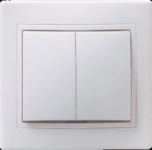 Выключатель 2-клавишный ВС10-2-0-КБ 10А КВАРТА белый IEK