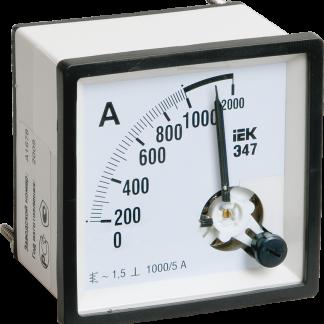 Амперметр Э47 2000/5А класс точности 1,5 72х72мм IEK