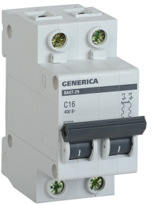 Автоматический выключатель ВА47-29 2Р 16А 4,5кА х-ка С GENERICA