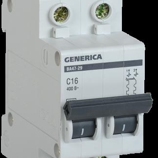 Автоматический выключатель ВА47-29 2Р 20А 4,5кА х-ка С GENERICA