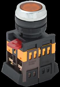 Кнопка ABLFS-22 желтый d=22мм неон/240В 1з+1р IEK