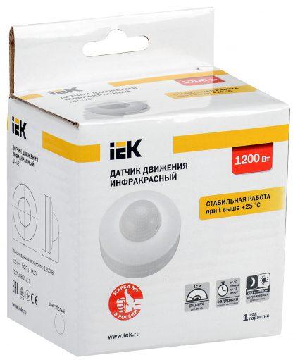 Датчик движения ДД-027 1200Вт 360град 12м IP20 белый IEK