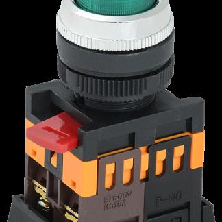 Кнопка ABLFP-22 зеленый d=22мм неон/240В 1з+1р IEK