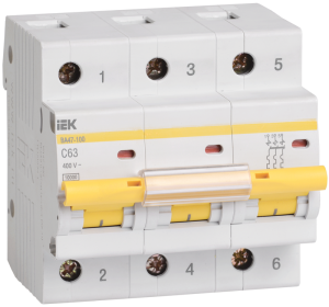 Автоматический выключатель ВА47-100 3Р 10А 10кА х-ка С IEK
