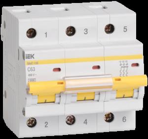 Автоматический выключатель ВА47-100 3Р 63А 10кА х-ка С IEK