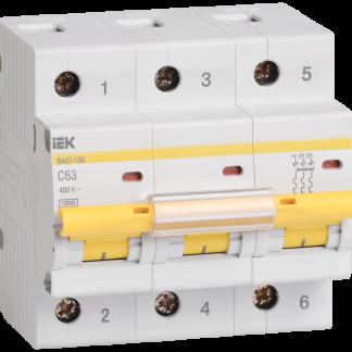 Автоматический выключатель ВА47-100 3Р 80А 10кА х-ка С IEK