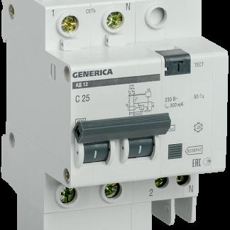 Дифференциальный автоматический выключатель АД12 2Р 25А 300мА GENERICA