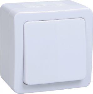 Выключатель 1-клавишный для открытой установки кнопочный ВСк20-1-0-ГПБ IP54 ГЕРМЕС PLUS (цвет клавиши: белый) IEK