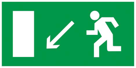 """Самоклеящаяся этикетка 200х100мм """"Направление к эвакуационному выходу налево вниз"""" IEK"""