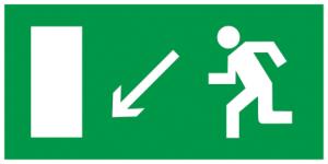 """Самоклеящаяся этикетка 100х50мм """"Направление к эвакуационному выходу налево вниз"""" IEK"""