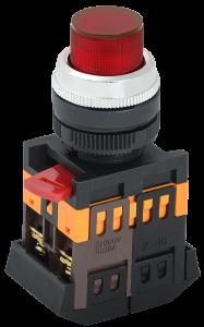 Кнопка ABLFP-22 красный d=22мм неон/240В 1з+1р IEK