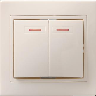 Выключатель 2-клавишный с индикацией ВС10-2-1-ККм 10А КВАРТА кремовый IEK