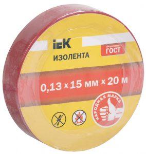 Изолента 0,13х15мм красная 20м IEK